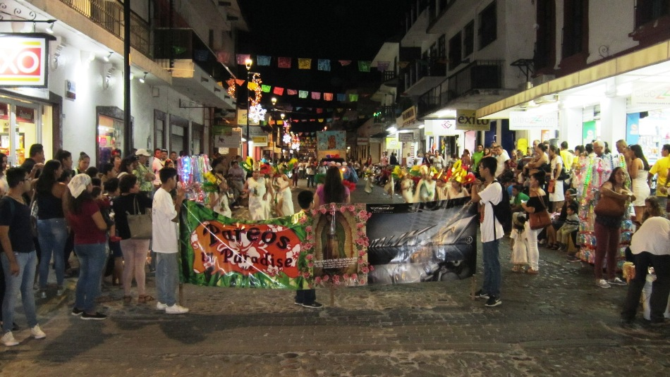 Guadalupe festival and processions on Juarez street in Puerto Vallarta in December