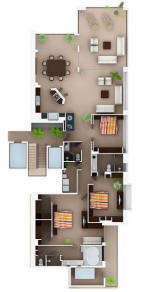 floor plan layout for the molino de agua 110 condo