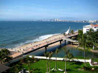 cuale river, new malecon bridge and downtown Vallarta