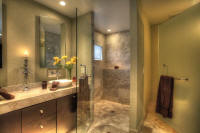 master bathroom with shower and jacuzzi