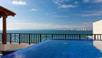 views of rooftop dipping pool and puerto vallarta