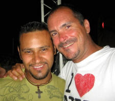 Benoit and friend out carousing at a gay club