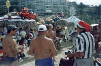 christmas years ago at the gay beach palapas full of toys for the kids
