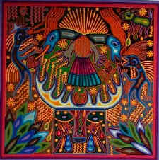 Huichol yarn painting by Jose Benito Sanchez - thanks to arte magico
