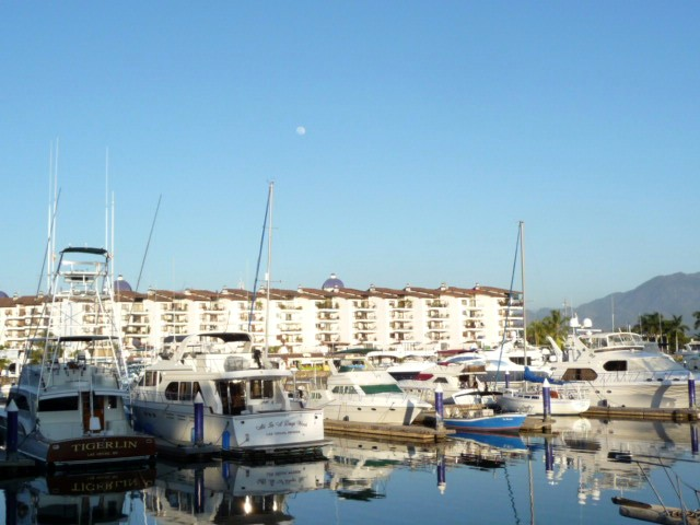 marina vallarta with full moon rising