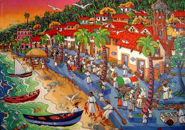 El Malecon de Ayer by artist Ada Colorina - puerto vallarta art galleries - photo thanks to galeria Corsica
