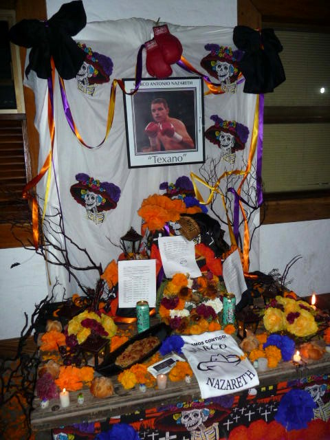 day of dead altar to boxer Marco Antonio Nazareth