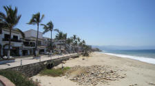 puerto vallarta downtown beach looking south along malecon