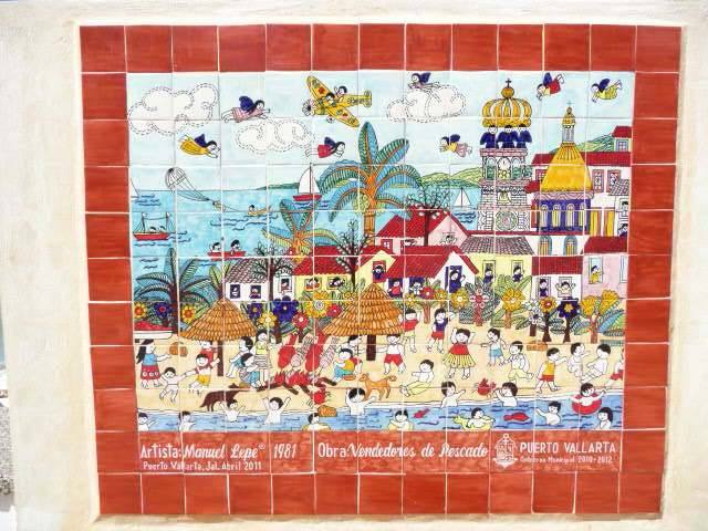 1981 mural on the Vallarta new malecon - by manuel lepe