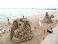 sand sculptures on vallarta malecon boardwalk
